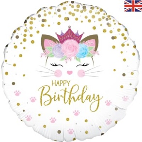 Floral Kitten Birthday Holographic Foil