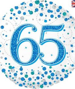 65th Sparkling Fizz Birthday Blue Holographic Foil