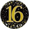"""Oaktree 3"""" Badge 16th Birthday Sparkling Fizz Black Gold Holographic"""