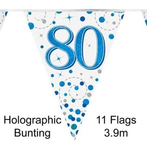 Party Bunting 80th Sparkling Fizz Birthday Blue Holographic