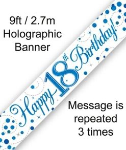 Sparkling Fizz 18th Birthday Blue Holographic Banner