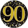 """Oaktree 3"""" Badge 90th Birthday Sparkling Fizz Black Gold Holographic"""
