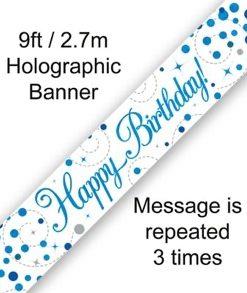 Sparkling Fizz Birthday Blue Holographic