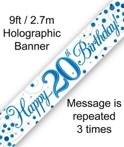 Sparkling Fizz 20th Birthday Blue Holographic Banner