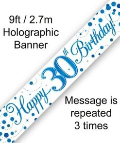 Sparkling Fizz 30th Birthday Blue Holographic Banner