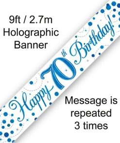 Sparkling Fizz 70th Birthday Blue Holographic Banner