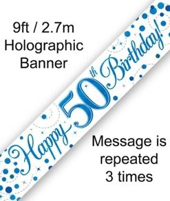 Sparkling Fizz 50th Birthday Blue Holographic Banner