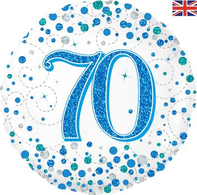 70th Sparkling Fizz Birthday Blue Holographic Foil