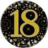 """Oaktree 3"""" Badge 18th Birthday Sparkling Fizz Black Gold Holographic"""