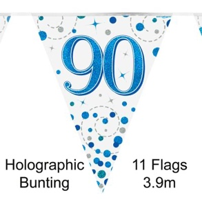Party Bunting 90th Sparkling Fizz Birthday Blue Holographic