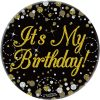 """Oaktree 3"""" Badge It's My Birthday Sparkling Fizz Black Gold Holographic"""