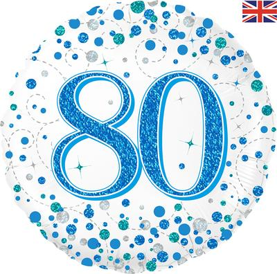 80th Sparkling Fizz Birthday Blue Holographic Foil