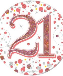 """Oaktree 3"""" Badge 21th Birthday Sparkling Fizz Rose Gold Holographic"""