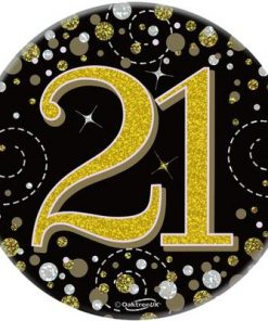 "Oaktree 3"" Badge 21st Birthday Sparkling Fizz Black Gold Holographic"