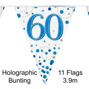Party Bunting 60th Sparkling Fizz Birthday Blue Holographic