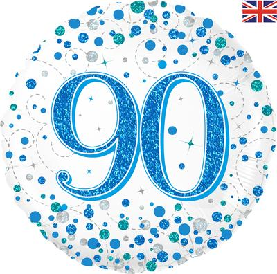 90th Sparkling Fizz Birthday Blue Holographic Foil