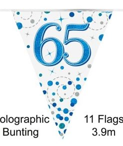 Party Bunting 65th Sparkling Fizz Birthday Blue Holographic