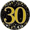 """Oaktree 3"""" Badge 30th Birthday Sparkling Fizz Black Gold Holographic"""