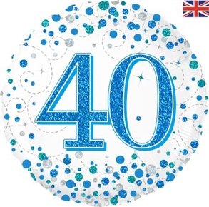 40th Sparkling Fizz Birthday Blue Holographic Foil