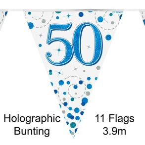 Party Bunting 50th Sparkling Fizz Birthday Blue Holographic
