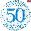 50th Sparkling Fizz Birthday Blue Holographic Foil