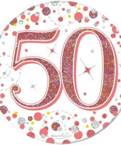"""Oaktree 3"""" Badge 50th Birthday Sparkling Fizz Rose Gold Holographic"""