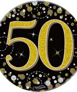 """Oaktree 3"""" Badge 50th Birthday Sparkling Fizz Black Gold Holographic"""