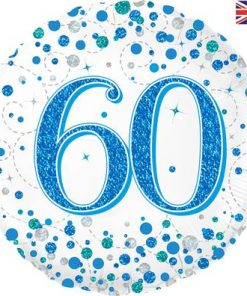60th Sparkling Fizz Birthday Blue Holographic Foil