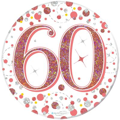 """Oaktree 3"""" Badge 60th Birthday Sparkling Fizz Rose Gold Holographic"""