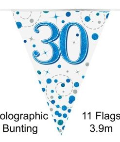 Party Bunting 30th Sparkling Fizz Birthday Blue Holographic