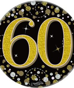 """Oaktree 3"""" Badge 60th Birthday Sparkling Fizz Black Gold Holographic"""