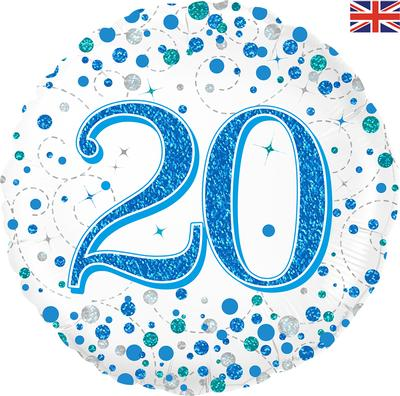 20th Sparkling Fizz Birthday Blue Holographic Foil