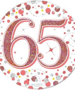 """Oaktree 3"""" Badge 65th Birthday Sparkling Fizz Rose Gold Holographic"""