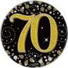 """Oaktree 3"""" Badge 70th Birthday Sparkling Fizz Black Gold Holographic"""