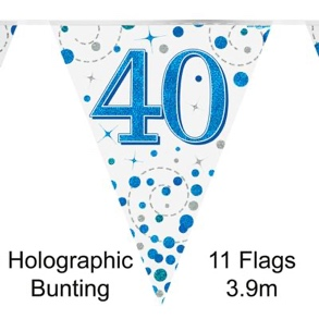 Party Bunting 40th Sparkling Fizz Birthday Blue Holographic