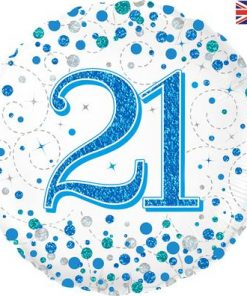 21st Sparkling Fizz Birthday Blue Holographic Foil