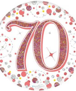 """Oaktree 3"""" Badge 70th Birthday Sparkling Fizz Rose Gold Holographic"""
