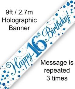 Sparkling Fizz 16th Birthday Blue Holographic Banner