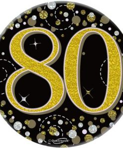 """Oaktree 3"""" Badge 80th Birthday Sparkling Fizz Black Gold Holographic"""