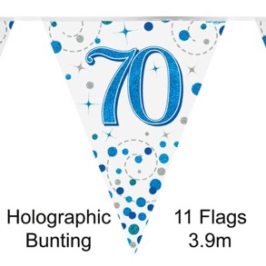 Party Bunting 70th Sparkling Fizz Birthday Blue Holographic