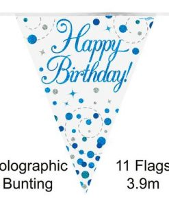 Party Bunting Sparkling Fizz Birthday Blue Holographic