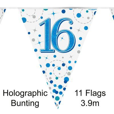Party Bunting 16th Sparkling Fizz Birthday Blue Holographic