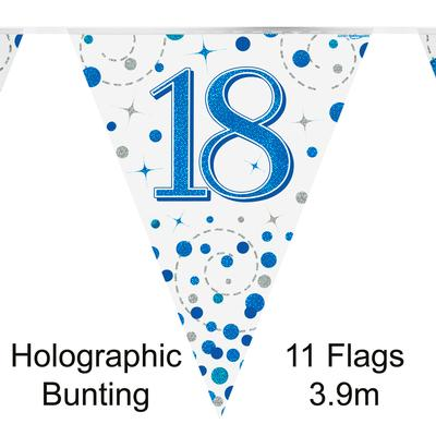 Party Bunting 18th Sparkling Fizz Birthday Blue Holographic