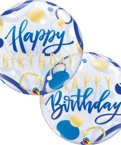 Birthday Blue and Gold Dots Single Bubble