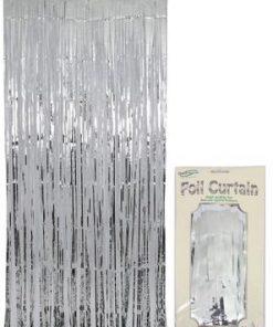 Foil Door Curtain Metallic Silver
