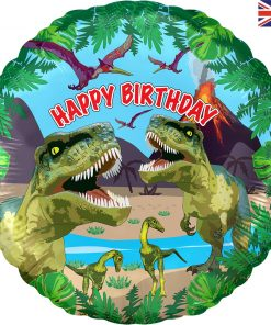 Jurassic Dinosaur Happy Birthday Metallic Foil